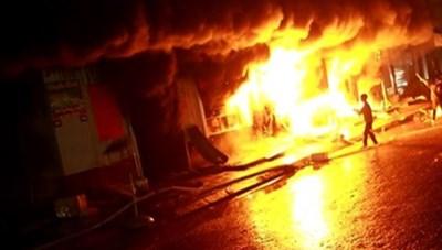Yên Bái: Cháy chợ thị trấn Yên Thế lúc rạng sáng, 5 kiốt thành tro