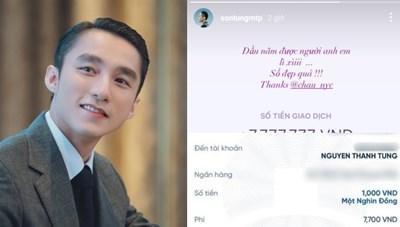 Để lộ tài khoản ngân hàng, fan liên tiếp chuyển tiền cho Sơn Tùng uống 'trà xanh'
