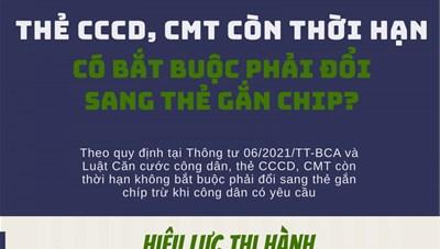 CCCD, CMT còn thời hạn có bắt buộc phải đổi sang thẻ gắn chip?