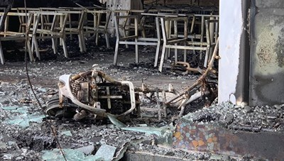 Hiện trường vụ cháy phòng trà khiến 6 người thiệt mạng