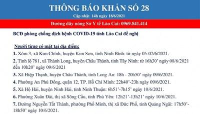 Lào Cai: Khẩn tìm người đến 18 địa điểm liên quan ca mắc Covid-19