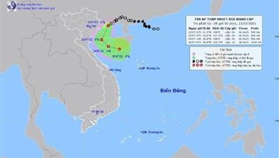 Áp thấp nhiệt đới vào vùng biển Quảng Ninh, Hải Phòng, gió giật cấp 8