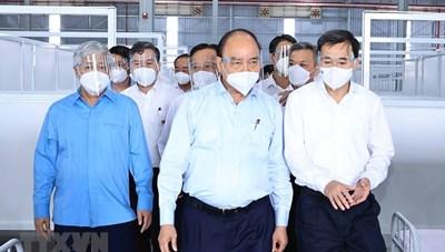[ẢNH] Chủ tịch nước, Chủ tịch UBTƯ MTTQ Việt Nam thăm Bệnh viện dã chiến Bình Dương