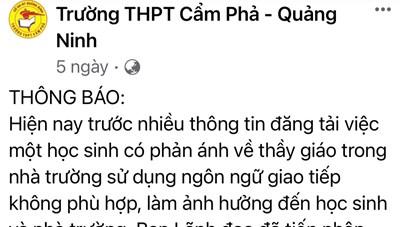 Trường THPT Cẩm Phả: Sớm có kết luận vụ thầy giáo bị tố nhắn tin tán tỉnh nữ sinh