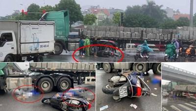Hà Nội: Va chạm với xe đầu kéo, 2 phụ nữ đi xe máy tử vong