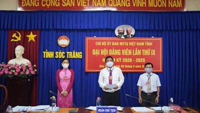 Chi bộ Ủy ban MTTQ tỉnh Sóc Trăng đại hội chi bộ nhiệm kỳ mới 2020 – 2025