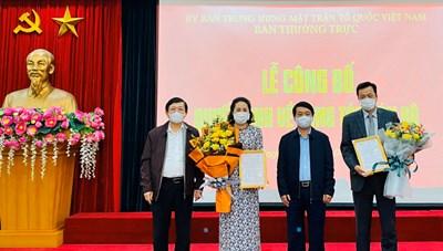 UBTƯ MTTQ Việt Nam bổ nhiệm 2 Phó trưởng ban Tổ chức - Cán bộ