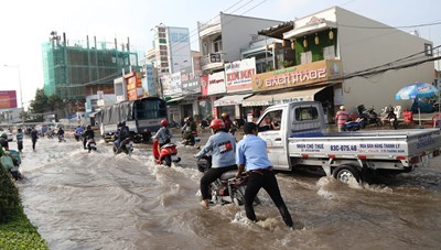 [ẢNH] Triều cường tấn công dữ dội, nhiều tỉnh tại ĐBSCL ngập sâu trong 'biển nước'