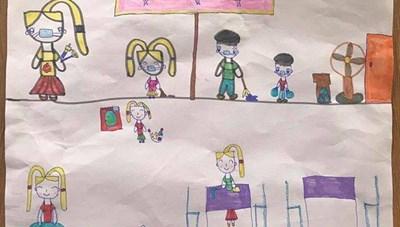 Học sinh vẽ tranh tuyên truyền phòng chống dịch Covid-19