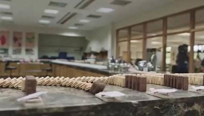 Hiệu ứng domino tuyệt đẹp từ 5.000 chiếc bánh quy