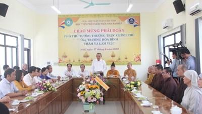 Phó Thủ tướng Thường trực Trương Hòa Bình thăm Học viện Phật giáo Việt Nam tại Huế