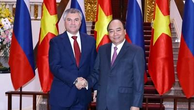 [ẢNH] Thủ tướng Nguyễn Xuân Phúc tiếp Chủ tịch Duma Quốc gia Nga