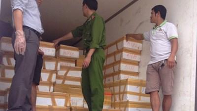 Bắt 5 tạ nội tạng thối trên đường về Quảng Ninh