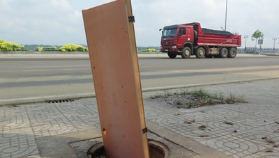 Quảng Ngãi: Nắp cống thoát nước bị mất hàng loạt