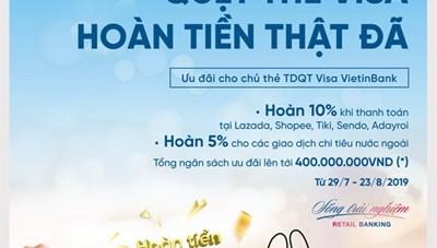 Hoàn đến 2 triệu đồng cho chủ thẻ Tín dụng Quốc tế Visa VietinBank