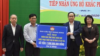 Ban cứu trợ Trung ương tiếp tục hỗ trợ Thừa Thiên – Huế 2 tỷ đồng