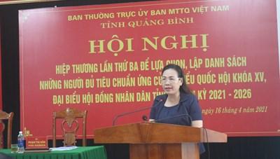 Quảng Bình có 8 người ứng cử đại biểu Quốc hội khóa XV
