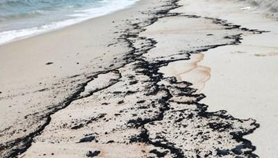 Quảng Bình: Xuất hiện vết dầu tràn dọc bờ biển Hải Ninh
