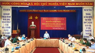 Chủ tịch nước, Chủ tịch UBTƯ MTTQ Việt Nam kiểm tra công tác phòng, chống dịch tại Bình Dương
