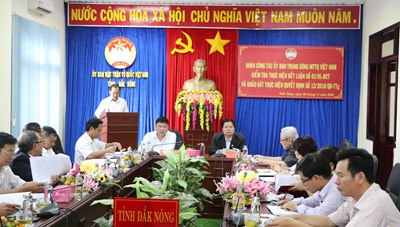 Đoàn công tác Mặt trận Trung ương làm việc tại Đắk Nông