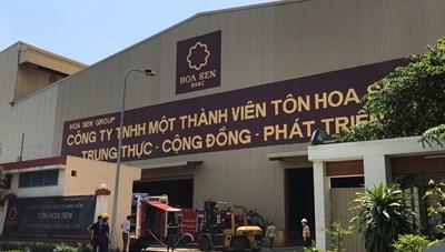Cháy công ty Tôn Hoa Sen trong khu công nghiệp Sóng Thần