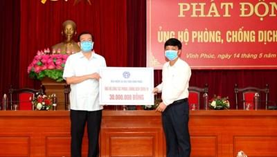 BHXH tỉnh Vĩnh Phúc ủng hộ công tác phòng, chống dịch Covid-19