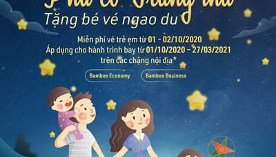 Bamboo Airways tặng hàng trăm vé bay miễn phí cho trẻ em dịp Trung thu