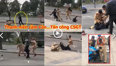 [VIDEO] Thanh niên không chấp hành hiệu lệnh, cầm côn nhị khúc tấn công CSGT