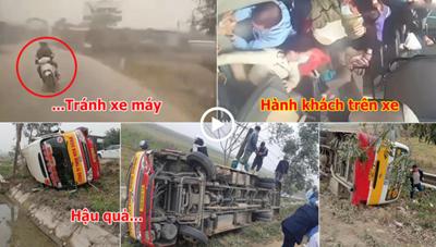 [VIDEO] – Tránh xe máy vượt ẩu, xe buýt lật nhào, hành chục hành khách hoảng loạn
