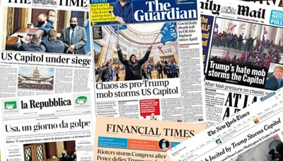 'Cơn bão' ở điện Capitol Mỹ tràn ngập trên báo chí thế giới