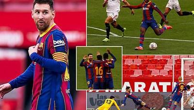 Messi tỏa sáng, Barcelona đánh bại Sevilla và soán ngôi Real Madrid