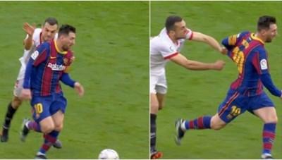 Messi biến cầu thủ của Sevilla thành 'trò hề' trên sân bóng