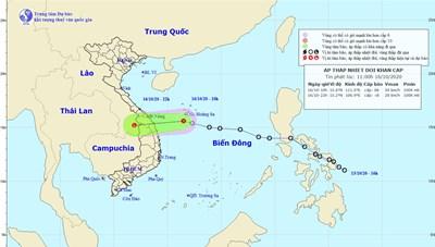 Chiều tối nay, áp thấp nhiệt đới đi vào miền Trung rồi suy yếu dần thành vùng áp thấp