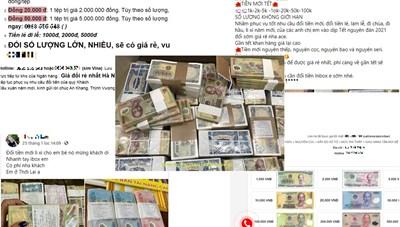 Dịch vụ đổi tiền lẻ kiếm lời dịp Tết là vi phạm pháp luật