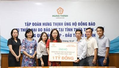 Tập đoàn Hưng Thịnh ủng hộ gần 5,3 tỷ đồng hỗ trợ người dân vùng lũ miền Trung
