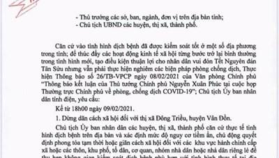 Quảng Ninh: Dừng giãn cách xã hội đối với thị xã Đông Triều và huyện Vân Đồn