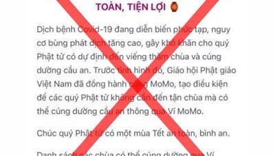 Cảnh báo các trang mạng giả mạo chùa Yên Tử kêu công đức của Phật tử