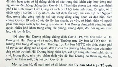 Tỉnh ủy Quảng Ninh tăng 2 tỷ đồng ủng hộ tỉnh Hải Dương