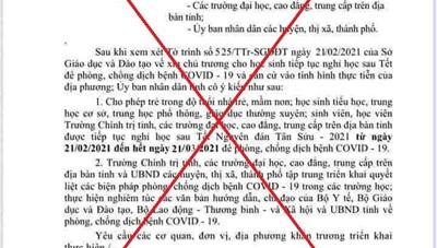 Quảng Nam: Giả mạo văn bản UBND tỉnh cho học sinh nghỉ học đến hết ngày 21/3