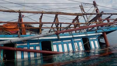 Quảng Nam: Cứu vớt 47 ngư dân câu mực bị chìm tàu trên biển