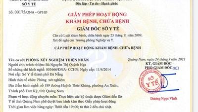 Cơ sở xét nghiệm Covid của BV Thiện Nhân tại Quảng Nam đã được cấp phép