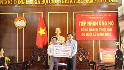 Mặt trận Quảng Nam tiếp nhận 2,2 tỷ đồng ủng hộ bà con vùng lũ