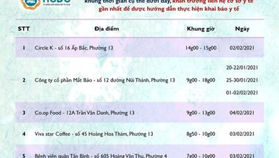 HCDC tiếp tục ra thông báo khẩn tìm người từng đến 5 địa điểm ở quận Tân Bình và Gò Vấp