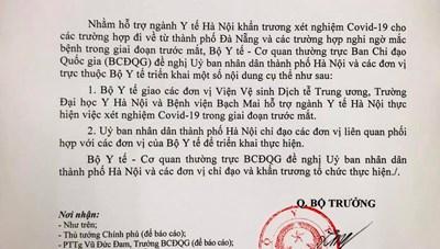 Bộ Y tế chi viện Hà Nội xét nghiệm Covid-19