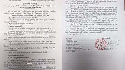 Đà Nẵng:  Thông tin dịch tễ về trường hợp F1 tiếp xúc với ca bệnh 1.347