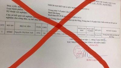 Đà Nẵng khẳng định 'phiếu xét nghiệm dương tính SARS-CoV-2' trên mạng là giả