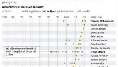 [Infographics] Nữ diễn viên chính xuất sắc nhất qua các mùa Oscar