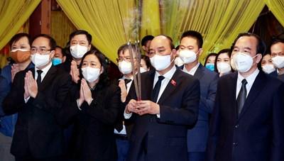 Lãnh đạo Nhà nước,MTTQ Việt Nam viếng Đại lão Hòa thượngThích Phổ Tuệ