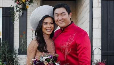 Hoa hậu Mỹ Sarah Rose Summers diện áo dài trong lễ đính hôn Hoa hậu gốc Việt