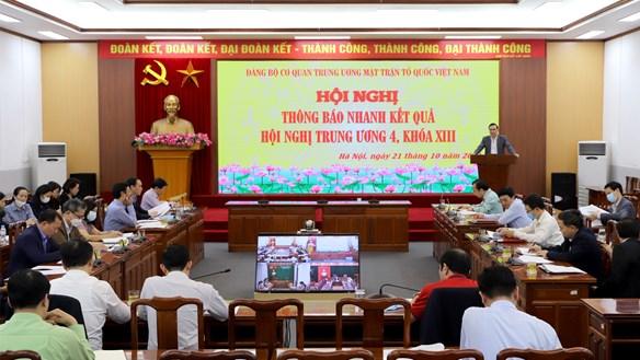 Mặt trận Trung ương thông báo nhanh kết quả Hội nghị Trung ương 4, khóa XIII